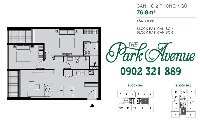 THE PARK AVENUE: Mặt bằng căn hộ 2 PN - 76.8m² c