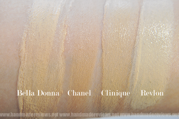 Compare Chanel Vitalumiere foundation with Chanel and Clinique