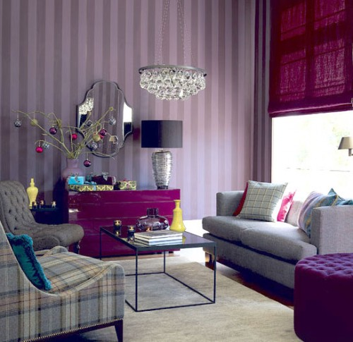 Beauty Houses Purple Interior Designs Living Room