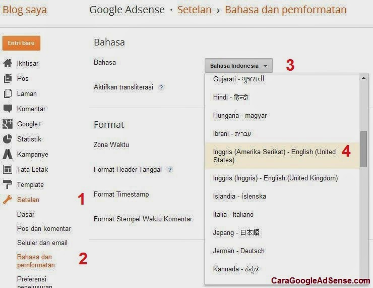 setting bahasa google adsense