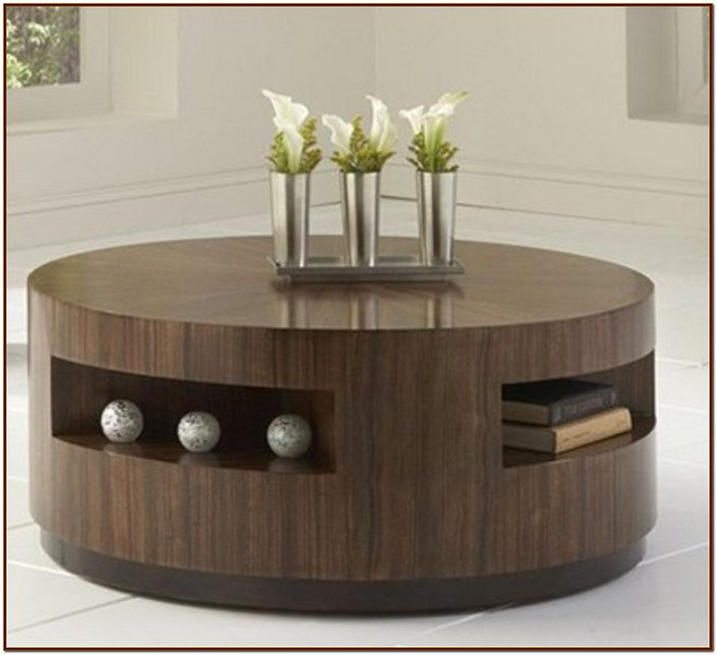 Superb round coffee table with storage