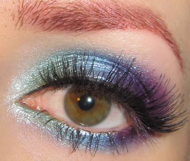 Glitter Is My Crack Green Blue And Purple Eye Makeup Look