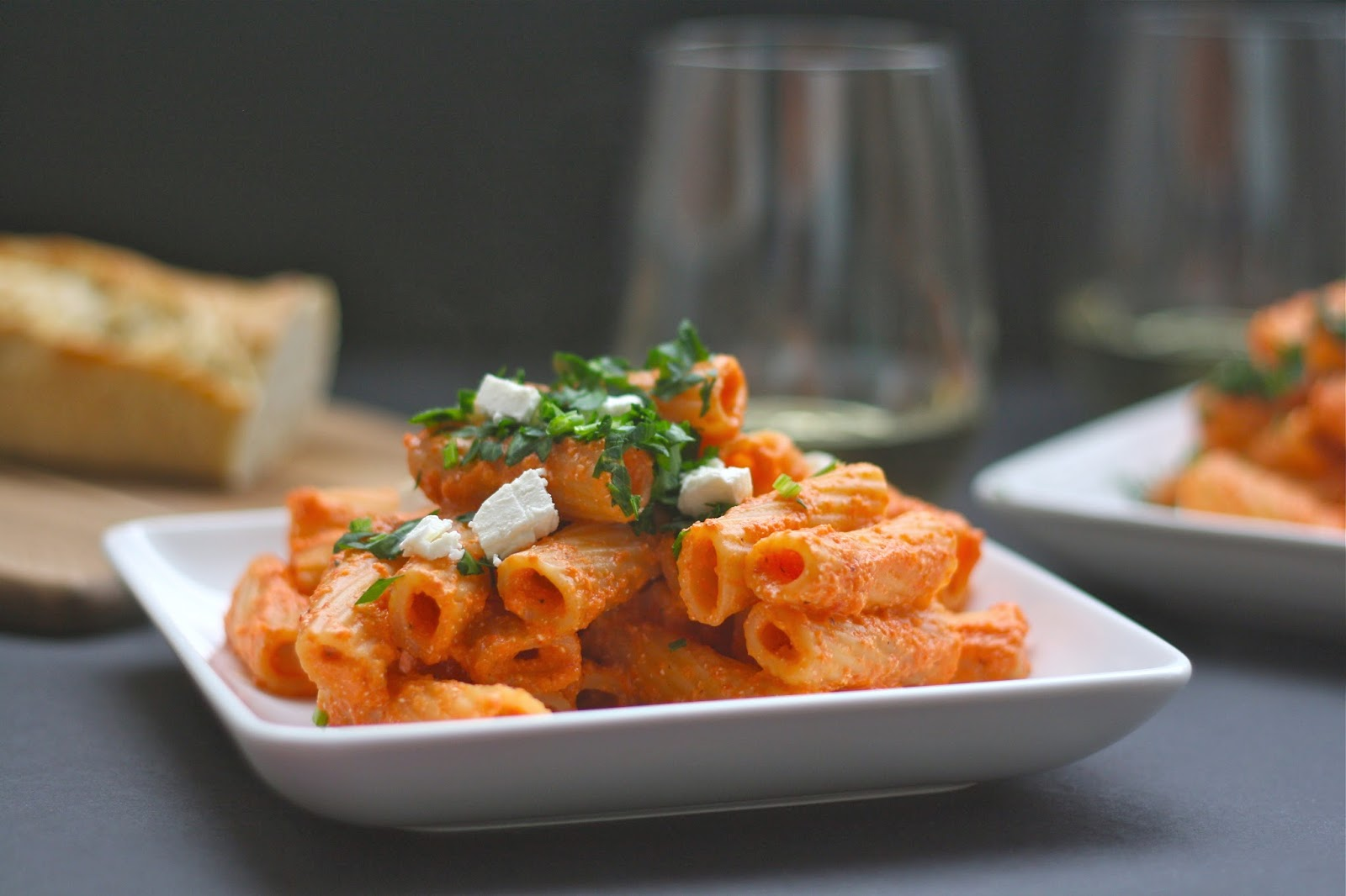 Rigatoni with Creamy Red Pepper-Feta Sauce