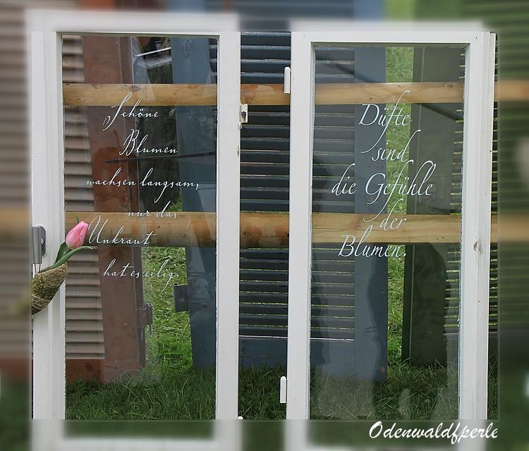Odenwaldperle dekofenster for Gartendeko altes fenster
