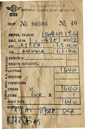 Εισιτήριο ΟΣΕ το 1996. Πλήρωσα 1640 δραχμές (περίπου €3 σήμερα;) να επιστρέψω Αθήνα απ' Ασέα