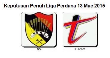 Keputusan Terkini Liga Perdana 13 Mac 2015