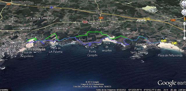 Mapa 1 -  senda Costera de Tapia de Casariego a La Playa de Peñarronda