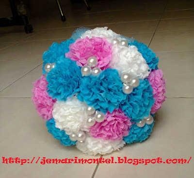 Blue, Pink and White Hand Bouquet