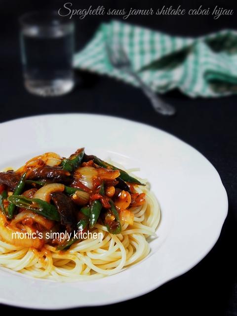 resep spaghetti jamur cabai hijau praktis