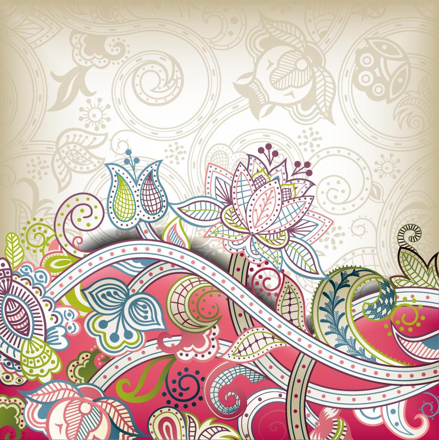 ゴージャスな植物柄の背景 gorgeous classical pattern vector イラスト素材