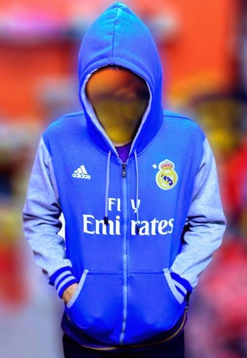 Zipper Hoodie Bola Real Madrid Blue Silver