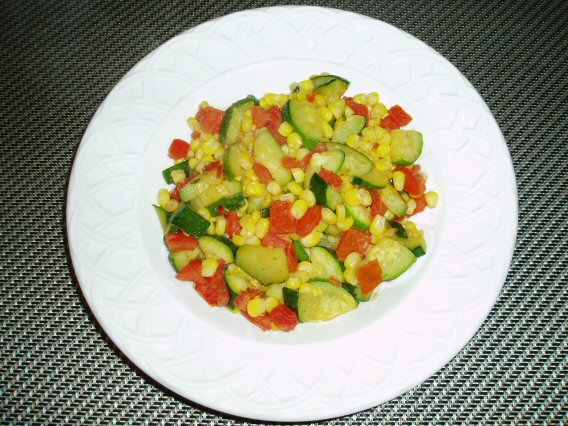 Meatless Mediterranean: Zucchini, Corn, and Tomato Saute
