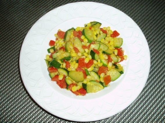 Meatless Mediterranean: Zucchini, Corn, and Tomato Saute