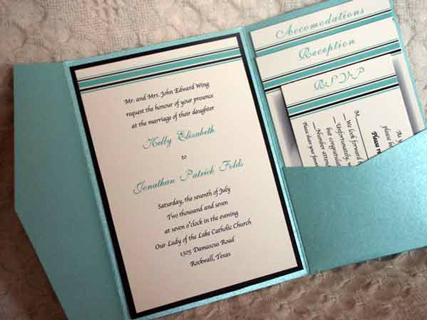 Pocket invitations like the one pictured below were the way to go