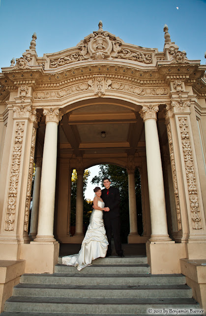 Bride and Groom at the Organ Pavillion in Balboa Park, San Diego