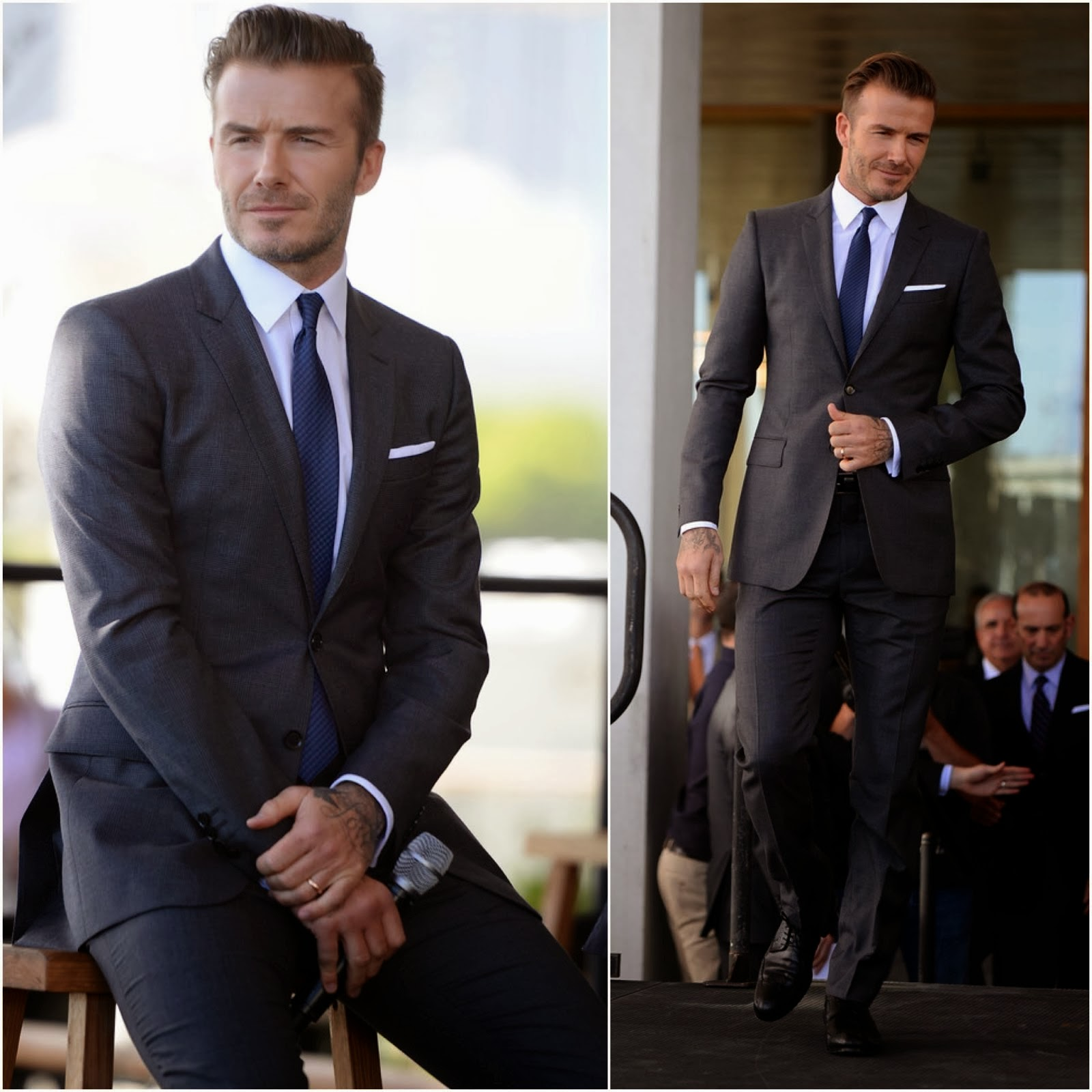 David Beckham in Burberry - Major League Soccer Franchise Press Conference