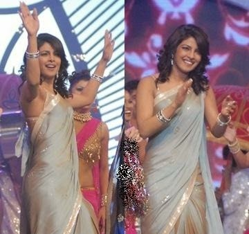 Priyanka Chopra dancing on desi girl song in her sexy cream coloured saree sets stage on fire,Priyanka Chopra hot pics hd
