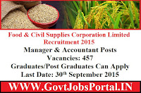 FOOD & CIVIL SUPPLIES CORPORATION LIMITED RECRUITMENT 2015
