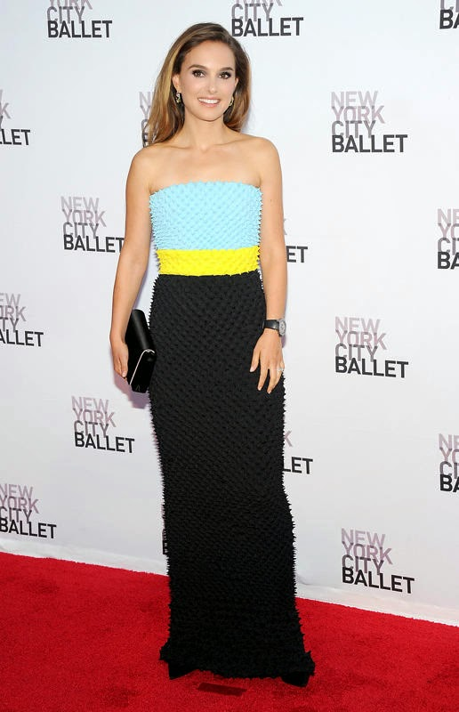 Natalie Portman Wearing a textured, tri-color Christian Dior Couture dress and diamond Dior earrings