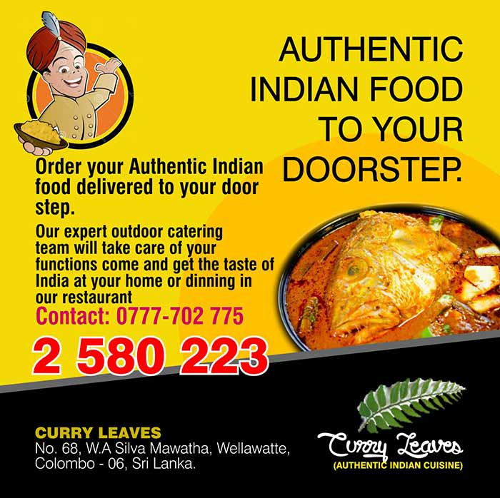 Curry laves Restaurant commence operation in 1998 December and completed 16 years of service. With successful years in service now we have change our Menu to accommodate more varieties of North and South Indian food and also our Sports Pub bites menu consists of all types of Indian Kebabs and Indian mouth watering charts which blends well with the hard liquor and the cocktails.     2. We specializing in north Indian and south Indian cousins .3. We have specialize chefs from India who have a expert knowledge in making different types of North Indian and south Indian dishes.4. Our menu consists of various type of authentic Indian dishes all of which are reasonably price which is affordable even to the lower middle class , middle class and upper class.     5. We also specialize in authentic Indian buffet Lunch and Dinner at affordable prices. The buffet consists of mainly North Indian food and south Indian Food6. We specialize in authentic north Indian pepper crab curry where we use fresh Legun crabs and also south Indian style Fish Head curry at affordable prices.     7. We are proud to mention that our high standard of authentic Indian food quality in our restaurant is appreciated by Indian visitors who is accompanied to our restaurant on a regular basis by tour groups such as Walker tours, Jetwing travels , Aitken Spence travel, Royal Holiday, Apple Holiday, Red Apple Travels, temptation Lanka etc.,8. We also undertake outdoor catering even up to 1000 PAX where our expert team brings the authentic Indian cousin to your doorstep at affordable prices.     9. We also undertake all types of functions in our restaurant where we offer our full service accompanied by varies types of buffet menu where one could pick according to the budget available.  We  have our Curry leaves Sport Pub which can accommodate around 100 seating where one could have any hard liquor, cocktail or a chill beer followed by authentic Indian bites in the most friendly relax atmosphere   view-in wha