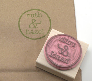 Ruth and Hazel logo stamp with stamped image on paper