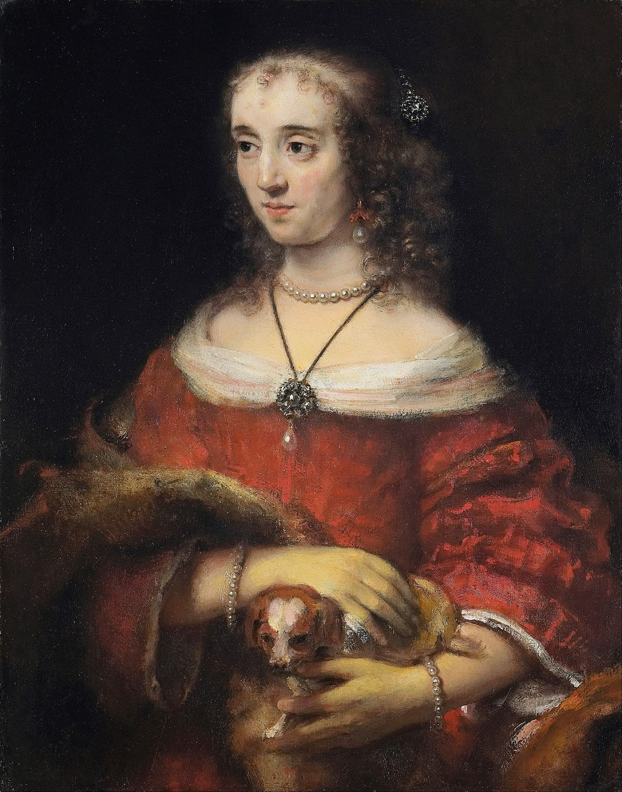 art artists rembrandt part  1665c portrait of a lady a lap dog oil on canvas 81 3 x 64 1 cm art gallery of ontario toronto