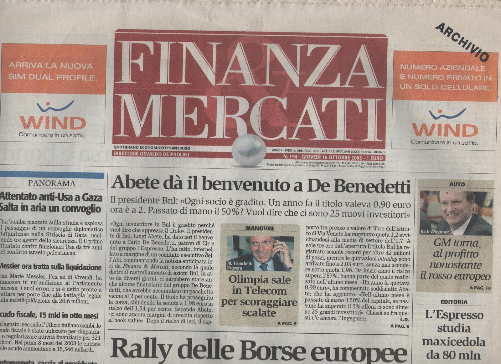 Quotidiano Finanza Mercati