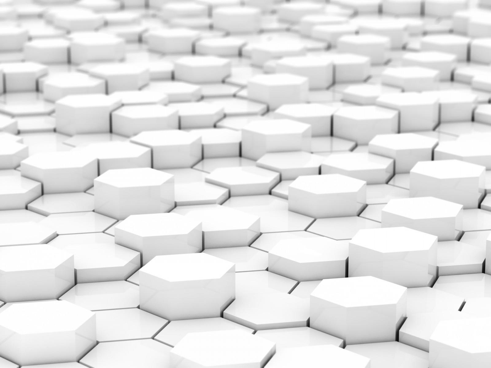 White 3D Hexagon Blocks HD Wallpaper