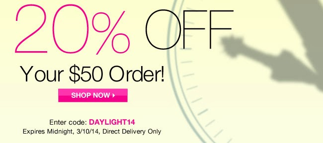 Avon Daylight Savings time offer earns you 20% discount and Avon free shipping.