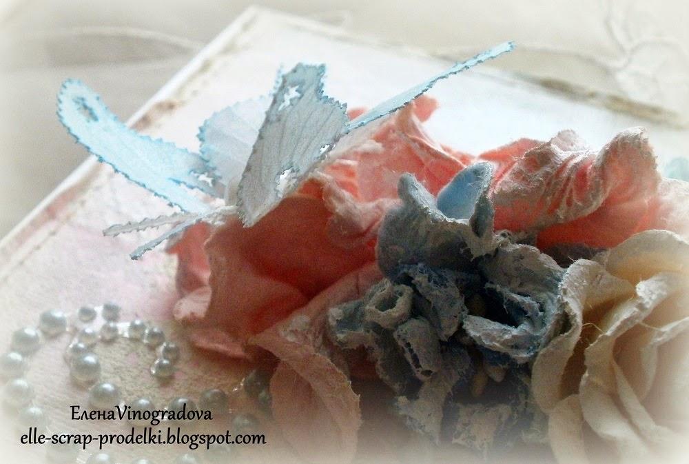 Открытка в стиле шебби с пергамано бабочками.