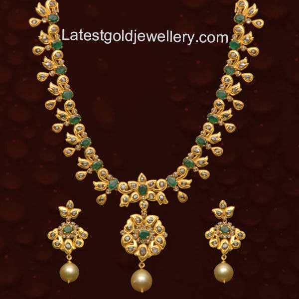 img necklace uncut diamond proddetail set necklaces line abhishek jewells single jaipur