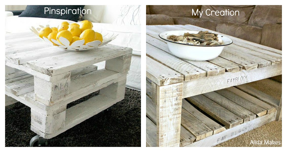 How to whitewash a pallet coffee table diy alida makes Whitewash coffee table