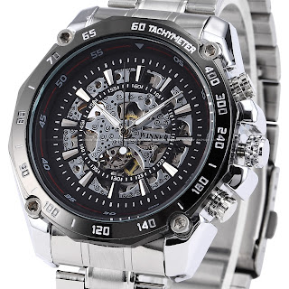 WINNER Black Dial Steel Analog Self-winding Mechanical Mens Skeleton Wrist Watch