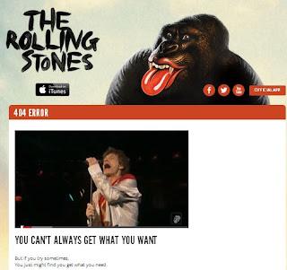 Página de error 404 en la web de los Rolling Stone