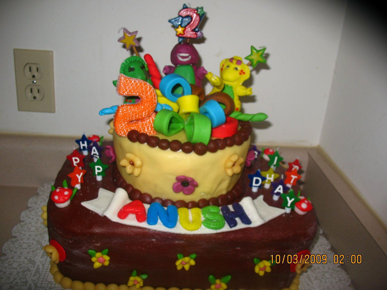 Anushs 2nd Birthday Cake Barney and Friends Fondant Cake My