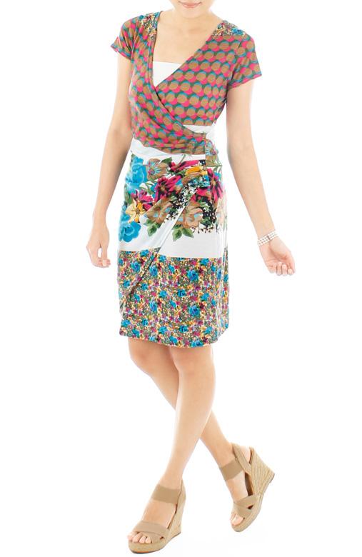 Mod Floral Wrap Dress – Ochre & Pink