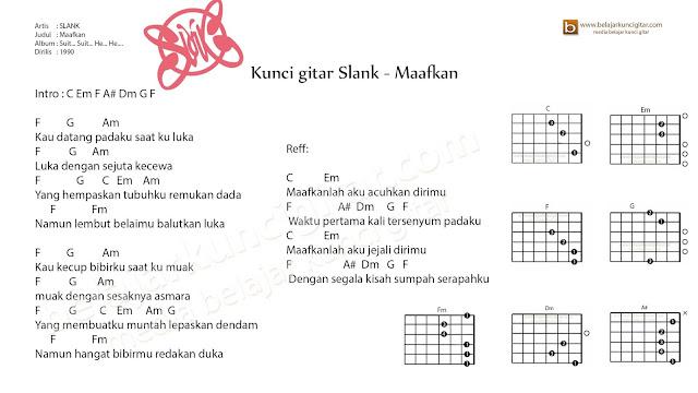 belajar kunci gitar slank maafkan lengkap dengan gambar kunci gitar