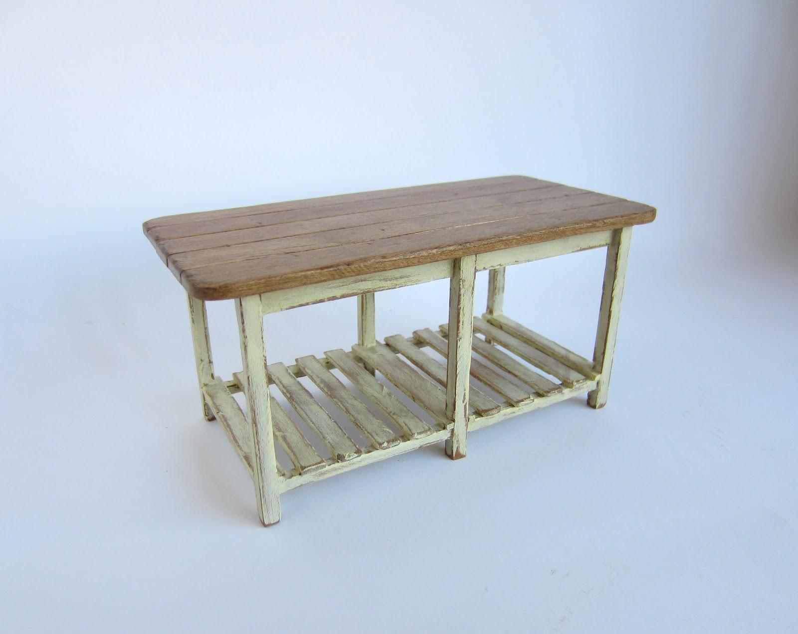 Muebles en miniatura miniature furniture - Mesa de trabajo para cocina ...