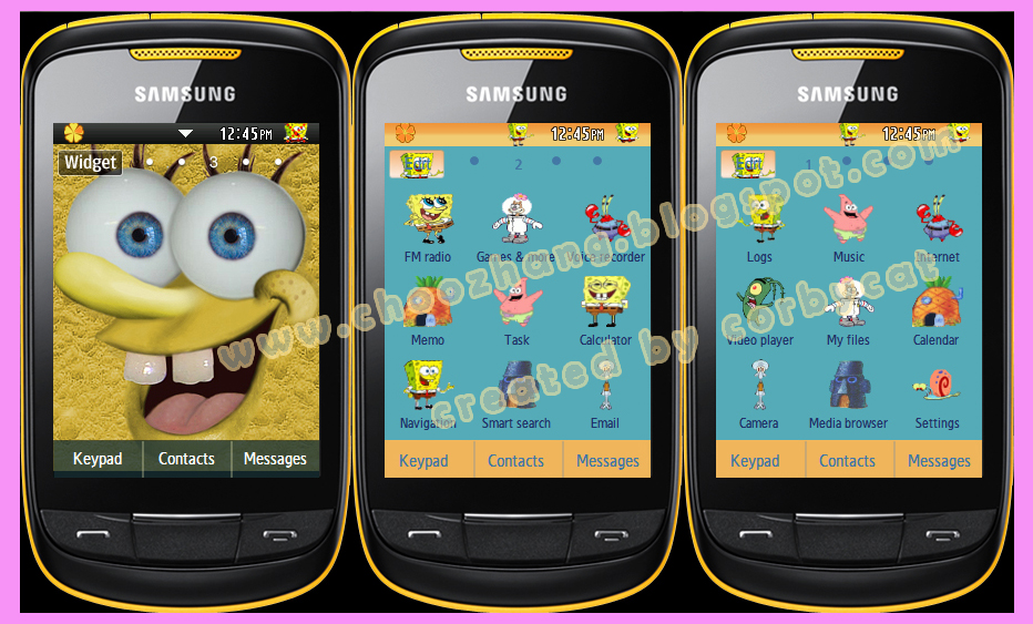 Samsung Corby 2 or S3850 - Sponge Bob Square Pants Themes