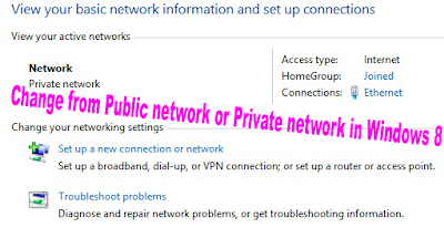 Change from Public network or Private network in Windows 8