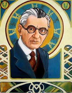 Kurt Gödel door Renee Bolinger in Art-Nouveau-stijl