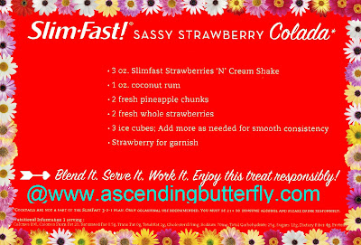 #SlimFastVeranoSexy, SlimFast, Sassy Strawberry Colada, Cocktail Recipe, Cocktails, Alcohol, Rum, Strawberries 'N' Cream Shake, Strawberries, Strawberry