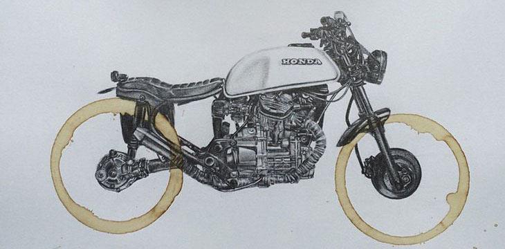 Manchas de café se convierten en ruedas de motos en las ilustraciones de Carter Asmann