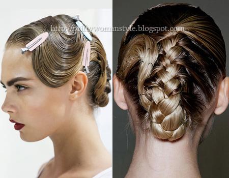 Сплетена прическа с прибрана коса