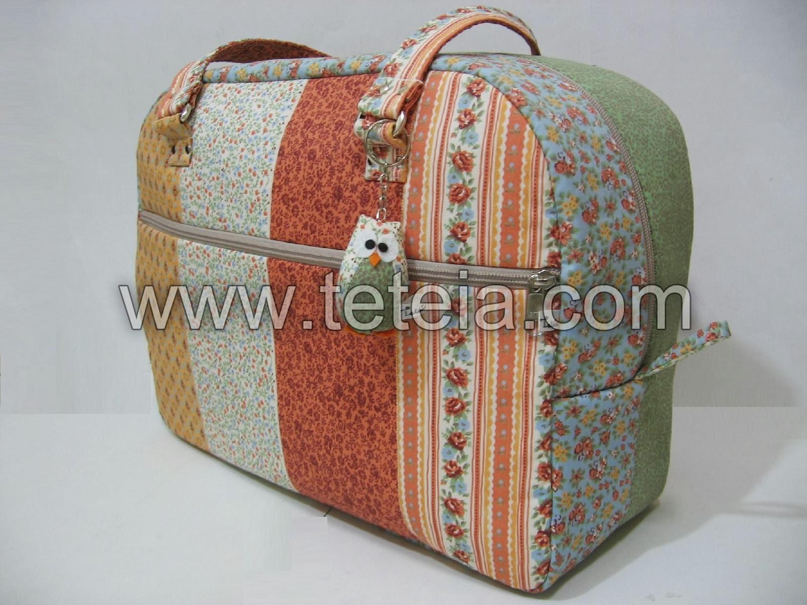 Bolsa De Viagem Em Tecido Passo A Passo : Tet?ia patchwork maleta de viagem faixas verde