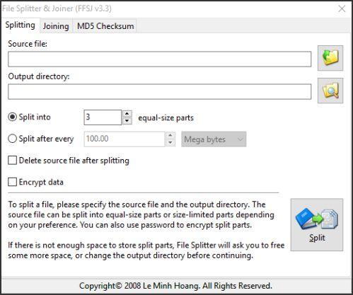 tampilan halaman splitting pada software ffsj