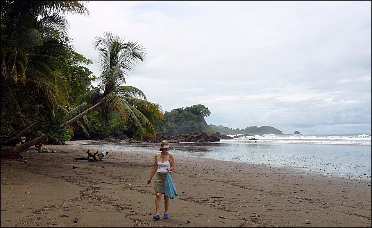 Tamara collecting plastic on favorite Costa Rica beach