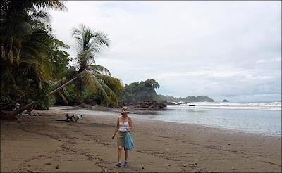 Tamara collecting plastic on favorite Costa Rica beach