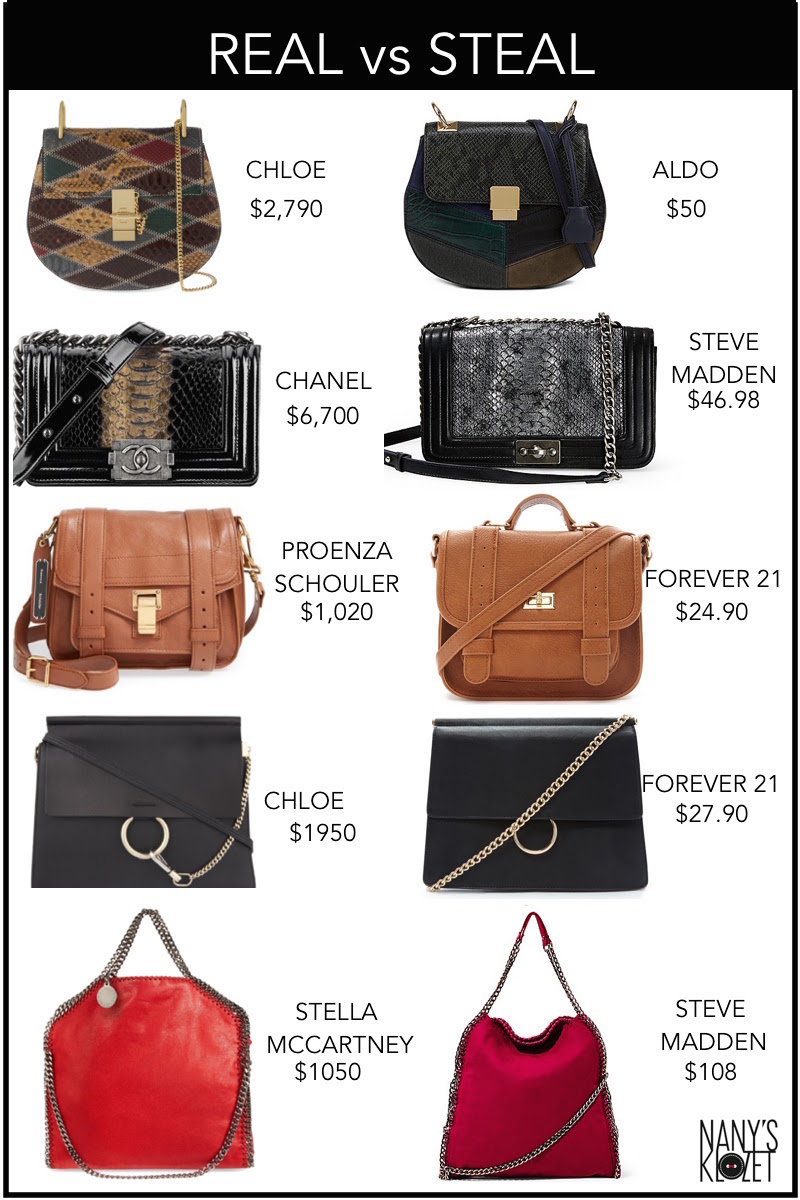 chanel, chloe, drew bag, fashion, forever 21, handbags, it bags, look for less, proenza schouler, real vs steal, stella mccartney,
