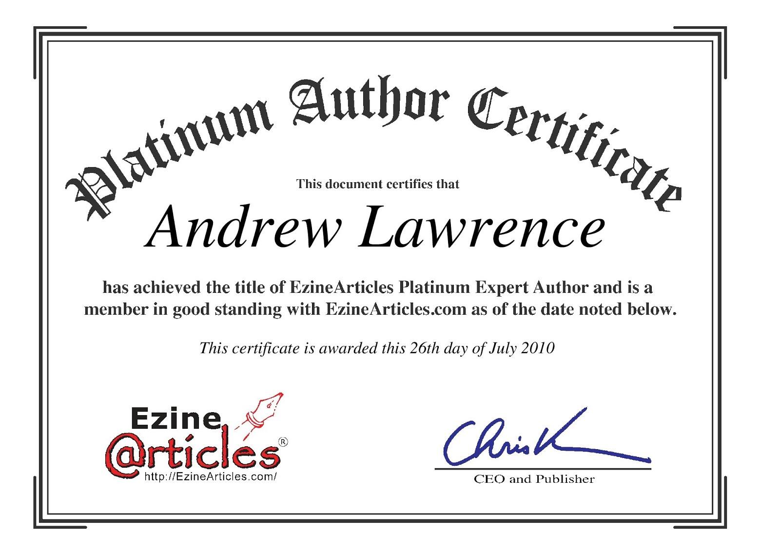 Ezine award